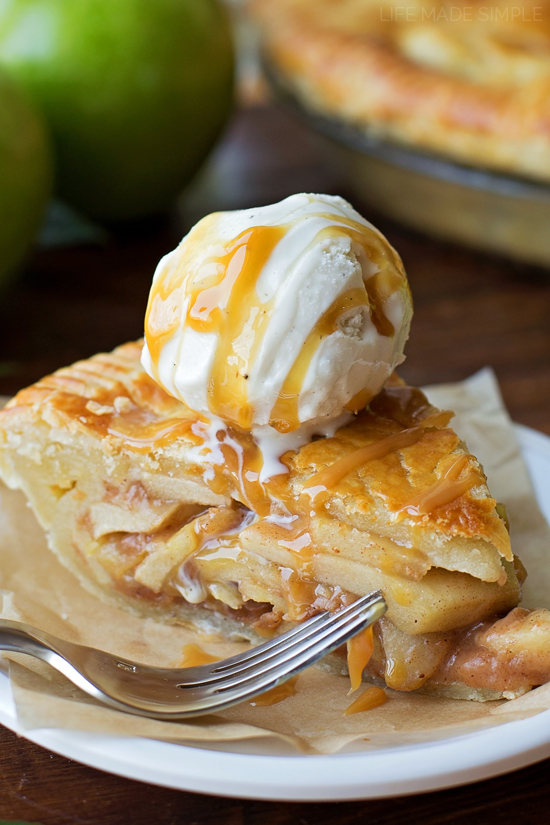 Classic Apple Pie with ice cream on plate