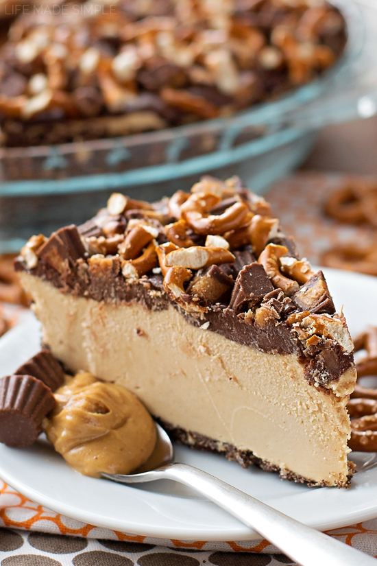Frozen Peanut Butter Pretzel Pie   lifemadesimplebakes.com