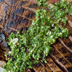 Grilled Flank Steak + 1 Minute Chimichurri Sauce | lifemadesimplebakes.com