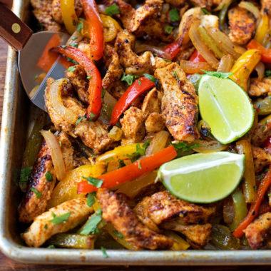 Sheet Pan Chicken Fajitas | lifemadesimplebakes.com