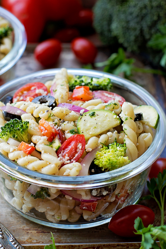 Summer Veggie Pasta Salad in a glass serving bowl
