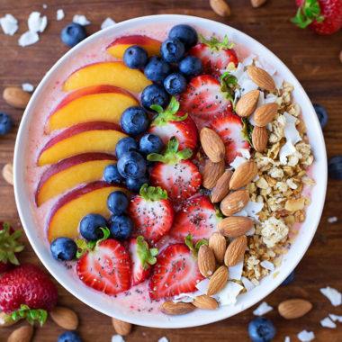 Berry, Peach and Coconut Smoothie Bowl | lifemadesimplebakes.com