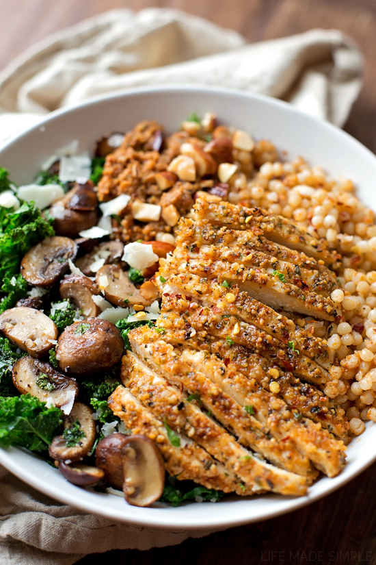 Parmesan Chicken with Sun-dried Tomato Cous Cous and Garlic Veggies | lifemadesimplebakes.com