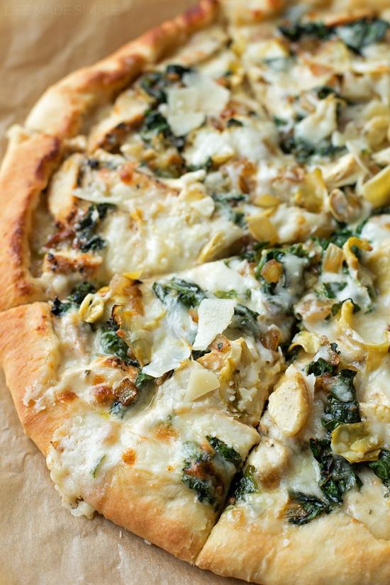 Spinach Artichoke Pizza | lifemadesimplebakes.com