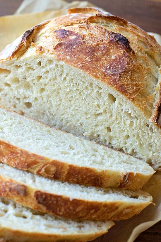 No knead artisan bread cut into slices