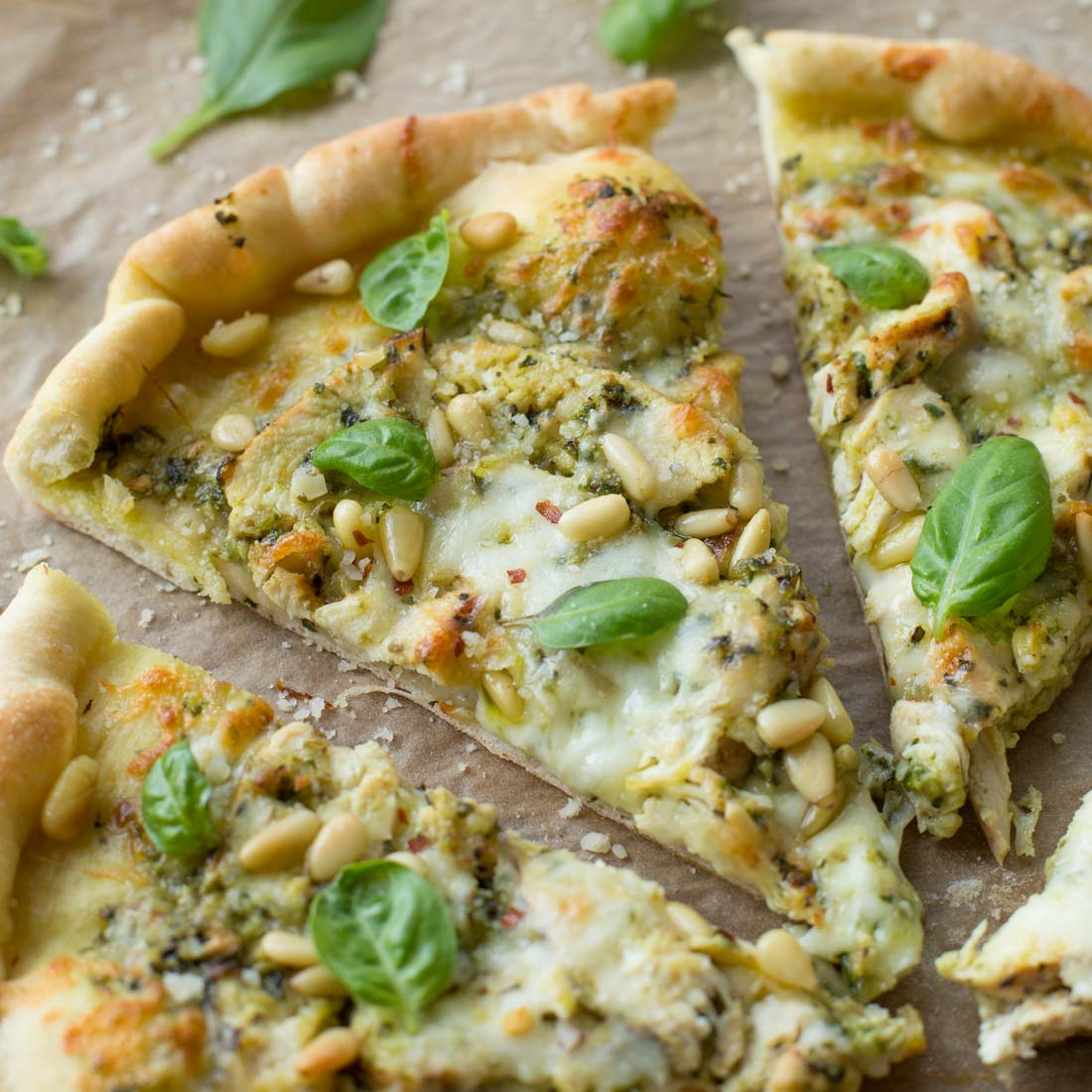 Chicken Pesto Pizza slice close up