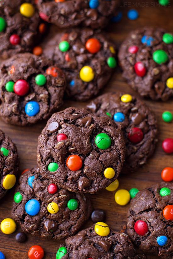 Dark Chocolate Monster Cookies | lifemadesimplebakes.com