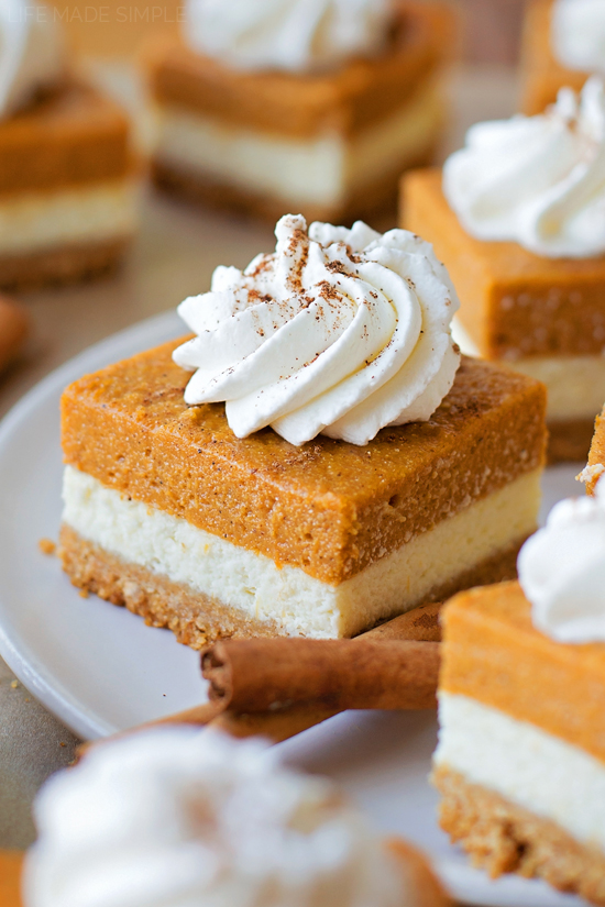 Layered Pumpkin Pie Cheesecake Bars Life Made Simple