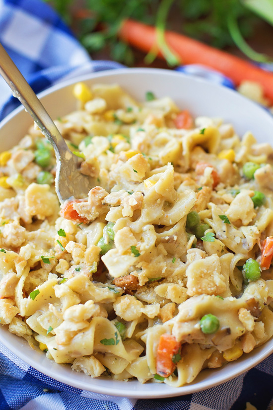 One-Pot Chicken Pot Pie Pasta on a plate with a fork