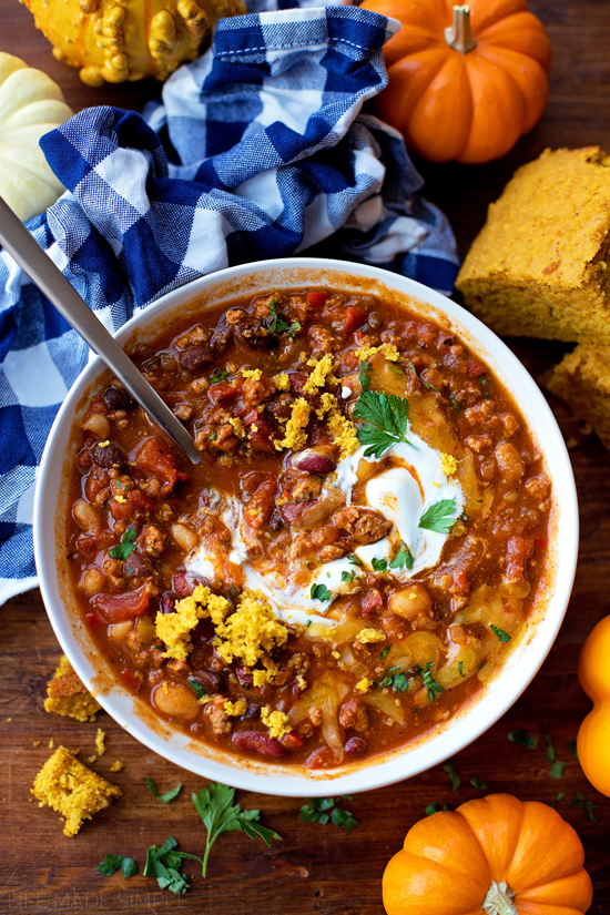 Pumpkin chili with turkey in bowl