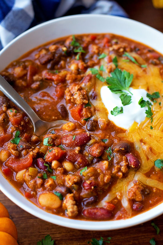 Turkey Pumpkin Chili recipe in bowl