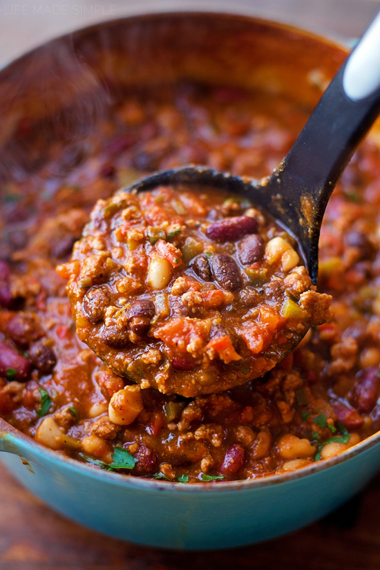 Turkey Pumpkin Chili in ladle