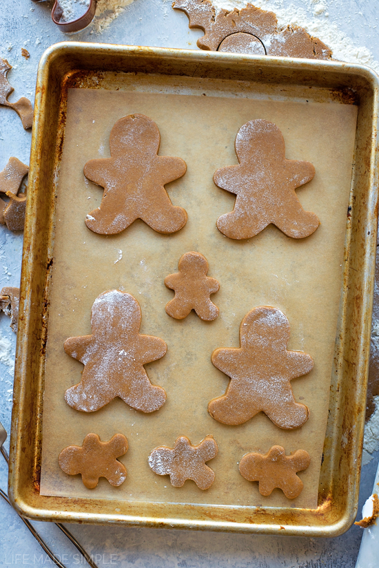 Gingerbread cookies on baking sheet