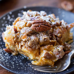 Overnight Pumpkin French Toast Bake | lifemadesimplebakes.com