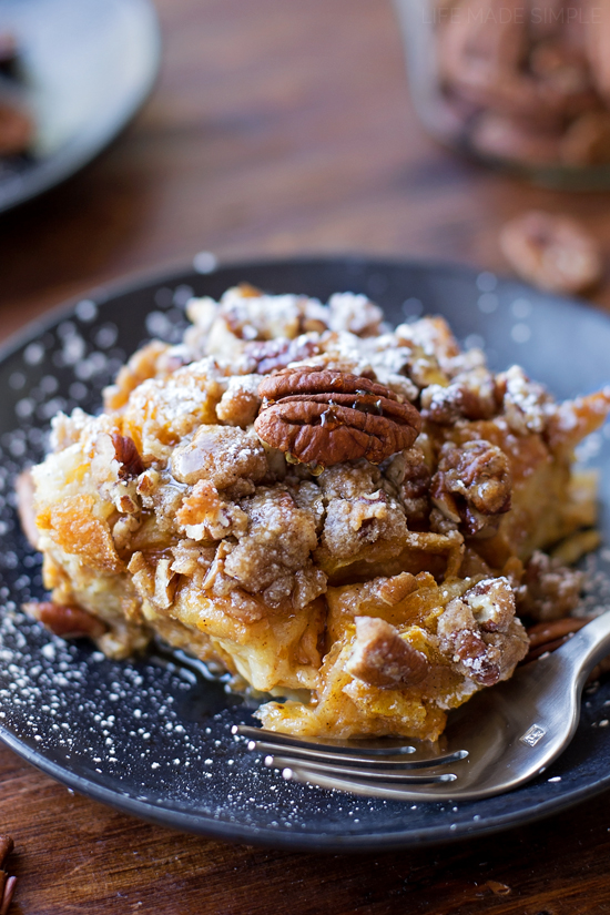 A serving of pumpkin french toast bake on a plate
