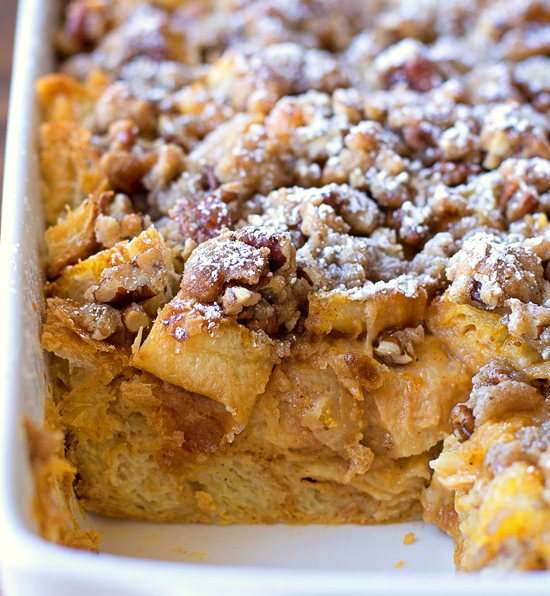 Overnight Pumpkin French Toast Bake with a slice missing