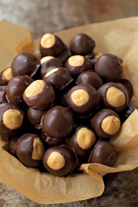 A bowl full of Peanut Butter Buckeyes