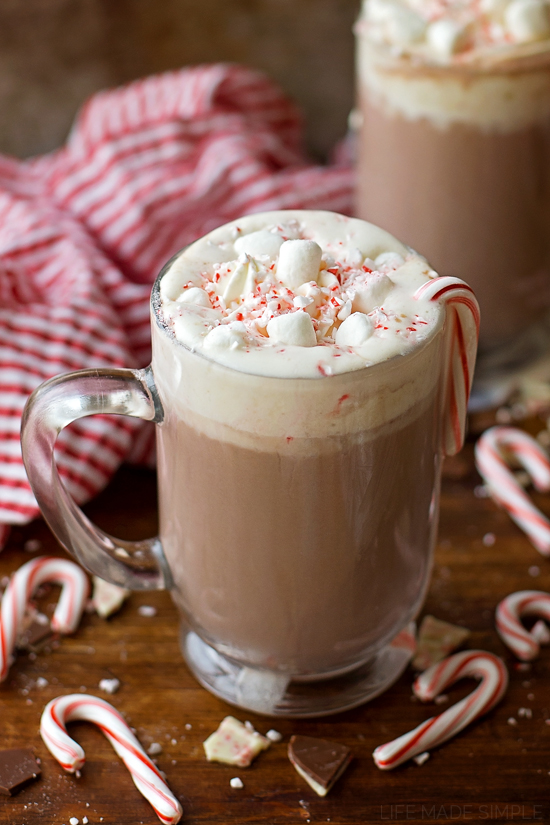 Peppermint Hot Cocoa Recipe in mugs