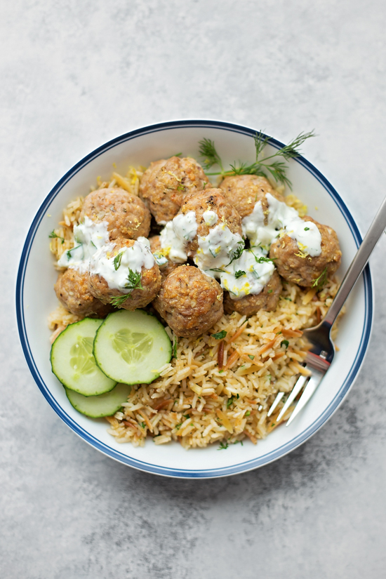 Greek Meatballs with Homemade Tzatziki | lifemadesimplebakes.com