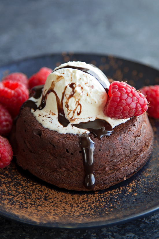 Chocolate Molten Lava Cake Recipe with ice cream and berries