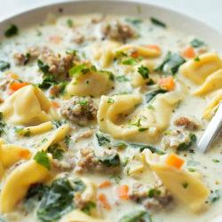Creamy Sausage and Tortellini Soup | lifemadesimplebakes.com