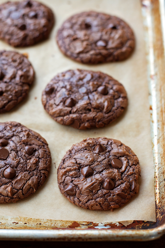 Chocolate Brownie Cookies on a parchment lined baking sheet