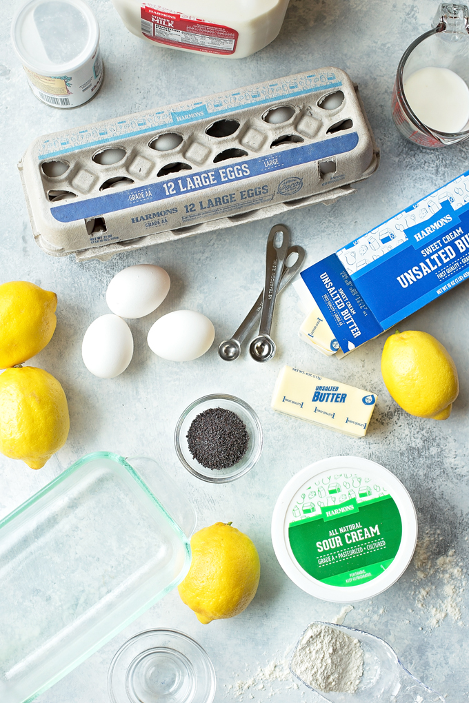 Ingredients for lemon poppy seed bread recipe