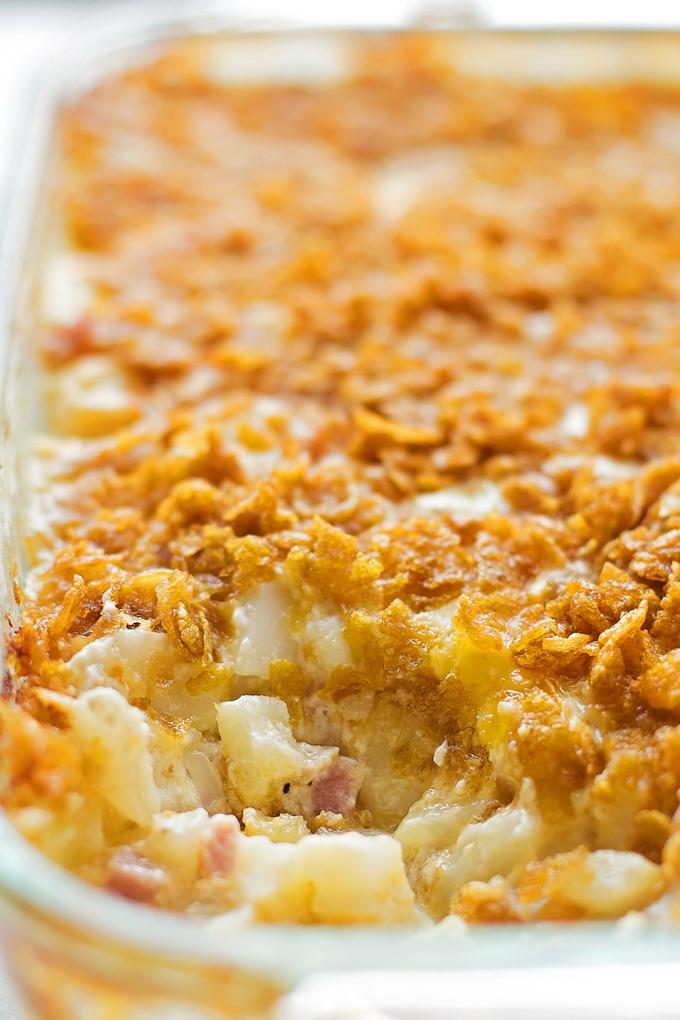 potato casserole in baking dish