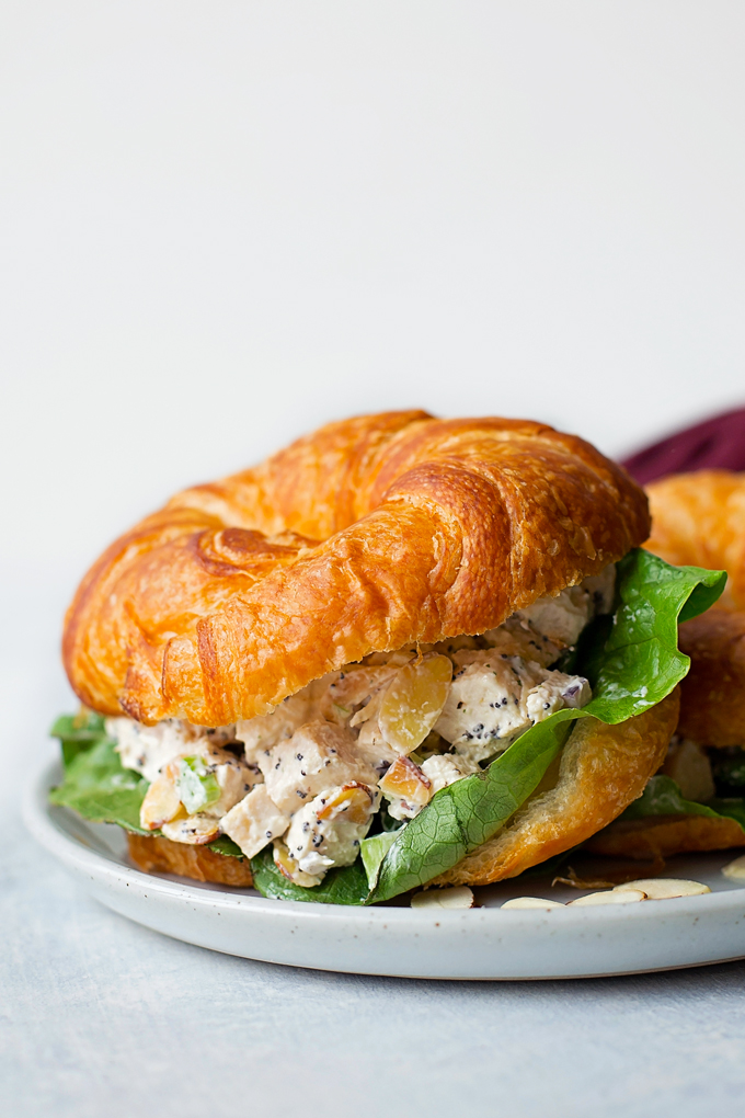 Almond Poppy Seed Chicken Salad is best served on buttery croissants!