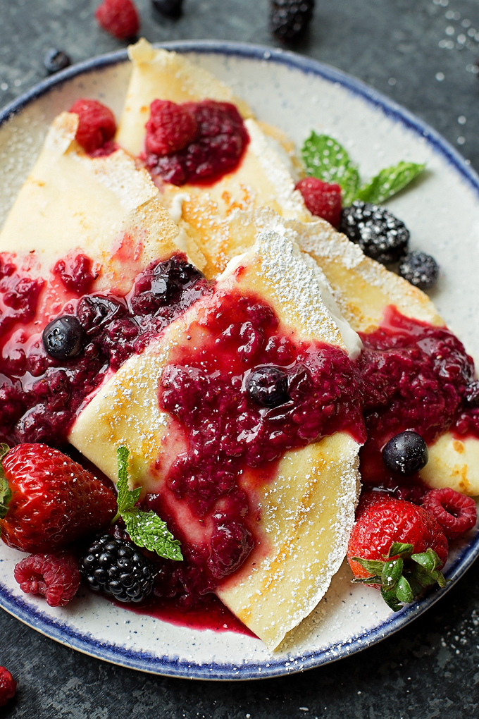 Homemade Crepes recipe on a plate