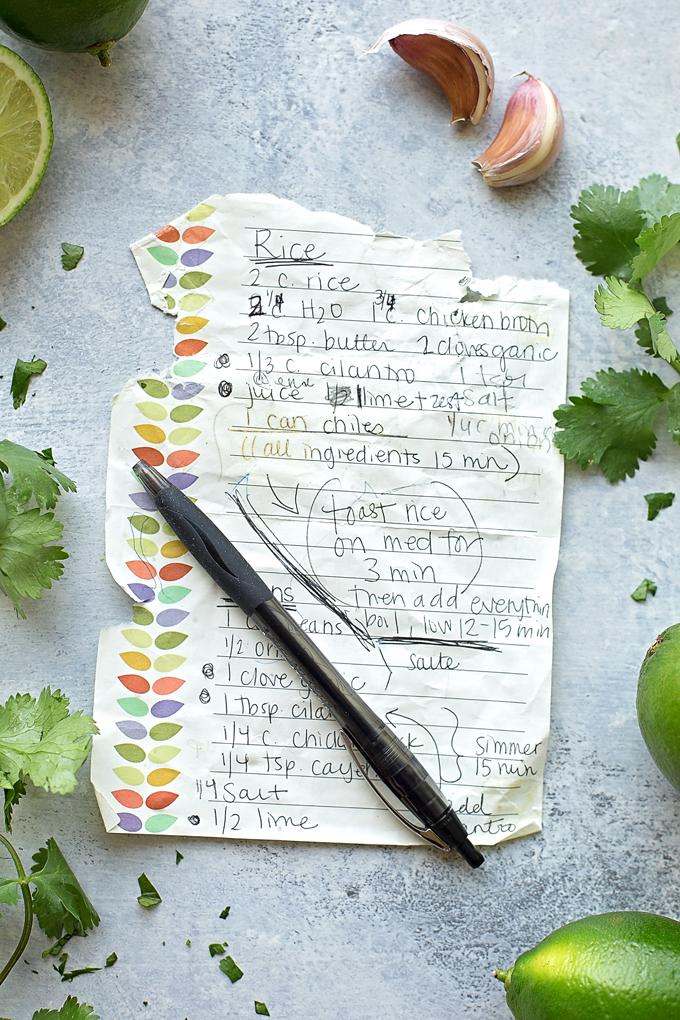 Handwritten cilantro lime rice recipe