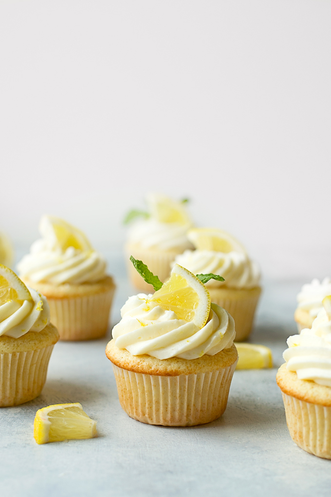 Batch of Lemon Cupcakes with Lemon Cream Cheese Frosting