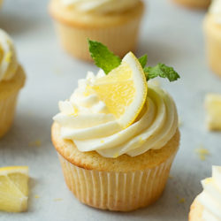 These Lemon Cupcakes with Lemon Cream Cheese Frosting are so light and fluffy!