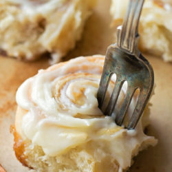 Mini Cinnamon Rolls with Cream Cheese Frosting - only takes a few bites to devour one of these!