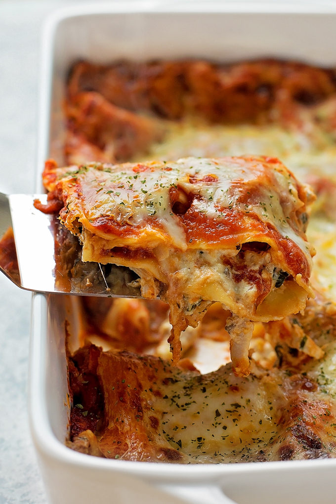 Chicken Lasagna recipe in baking dish