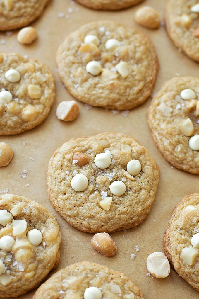 White Chocolate Macadamia Nut Cookies sprinkled with sea salt