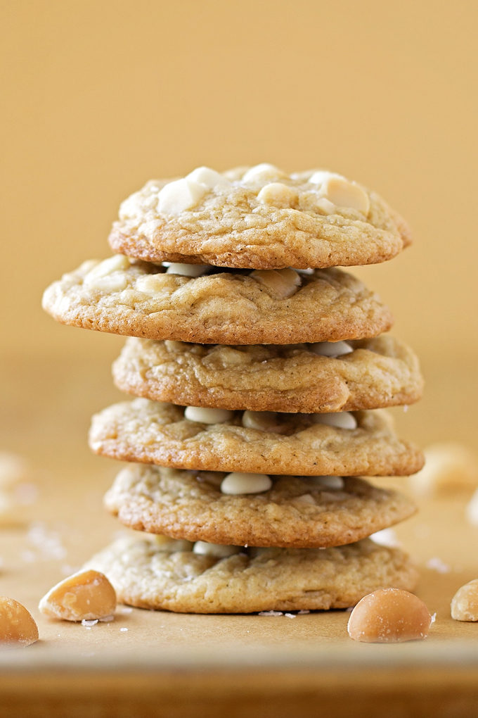 White Chocolate Chip Macadamia Nut Cookies in a stack