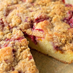 Strawberry Peach Skillet Cake | lifemadesimplebakes.com