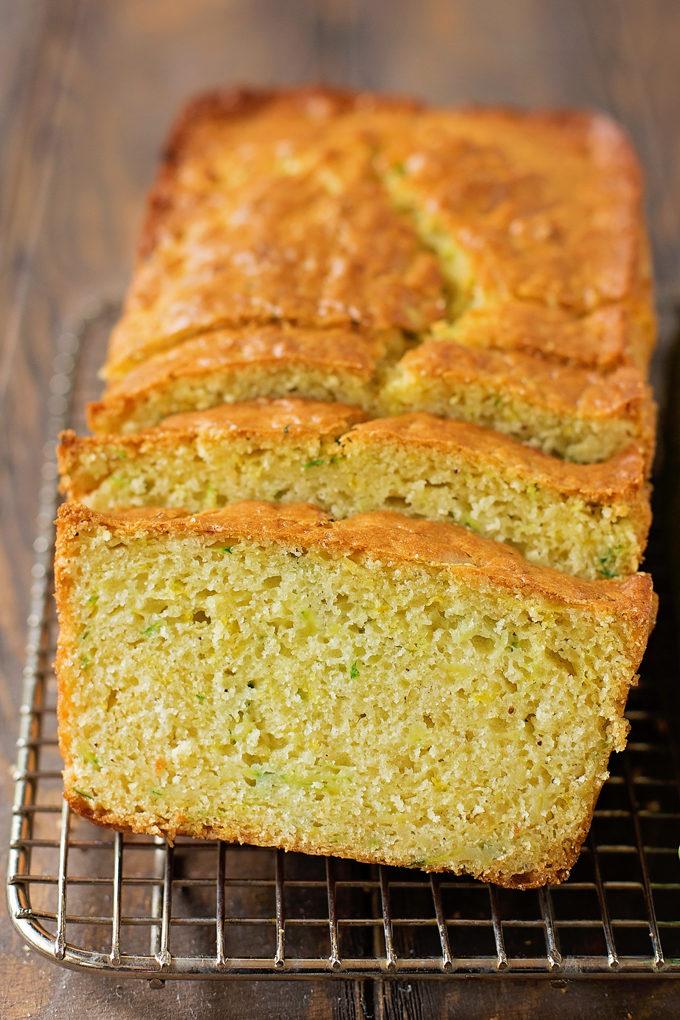 Lemon Zucchini Bread cut into slices