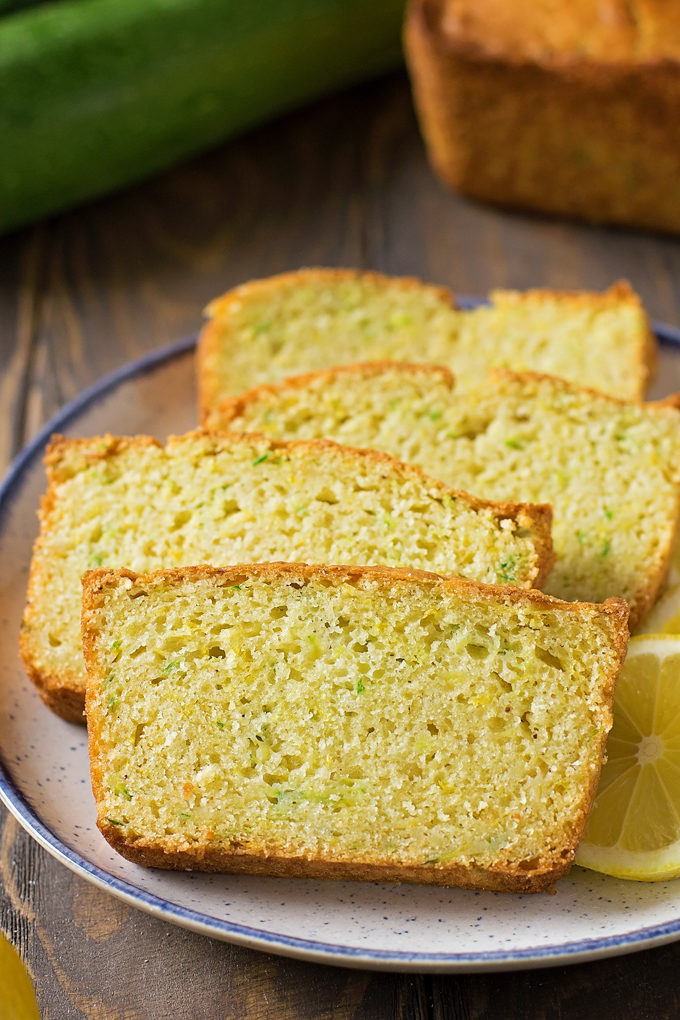 Lemon Zucchini Bread slices on a plate