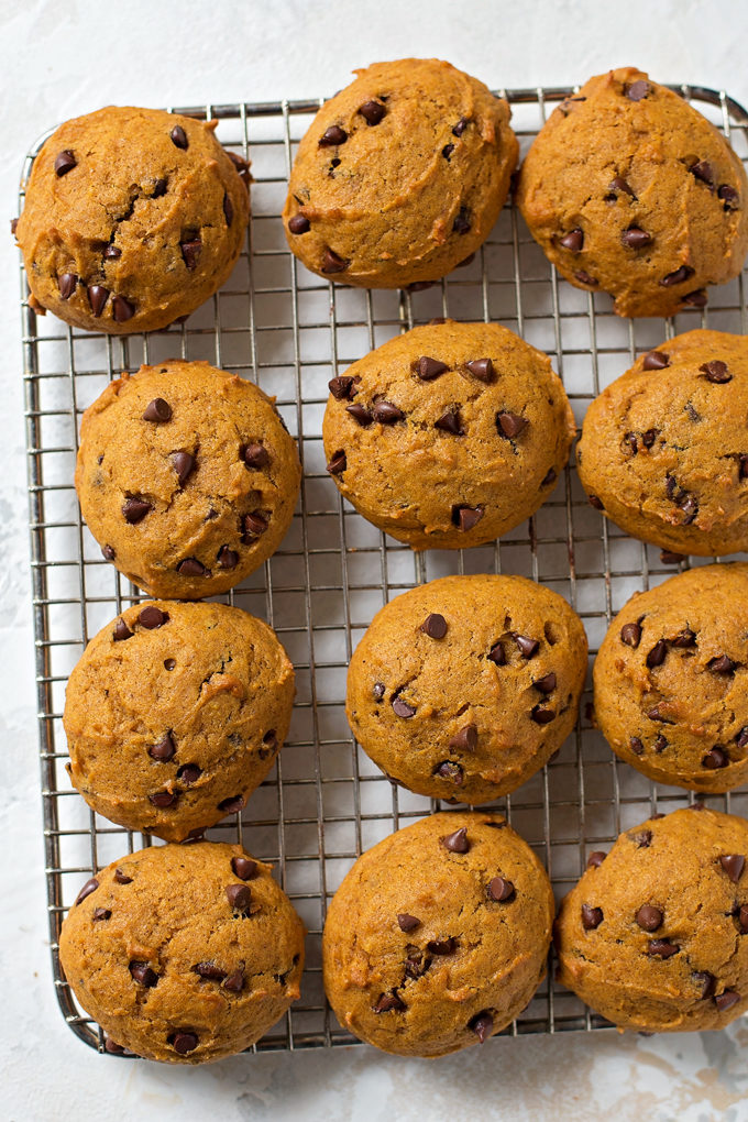 Pumpkin Chocolate Chip Cookies on wire rack