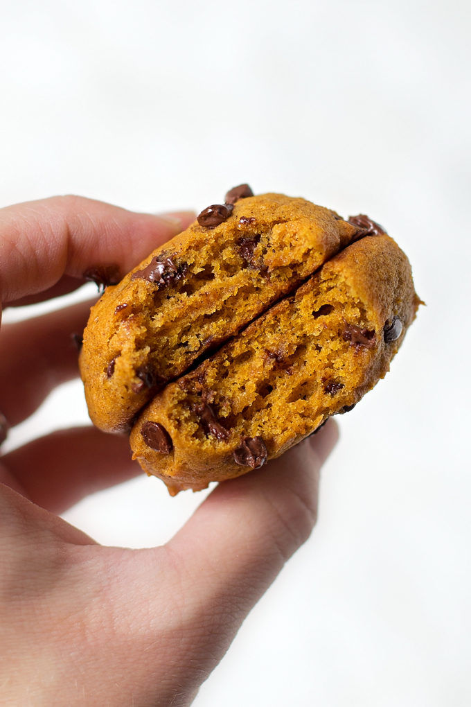 Pumpkin chocolate chip cookies stacked