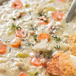 Cozy Chicken and Wild Rice Soup | lifemadesimplebakes.com