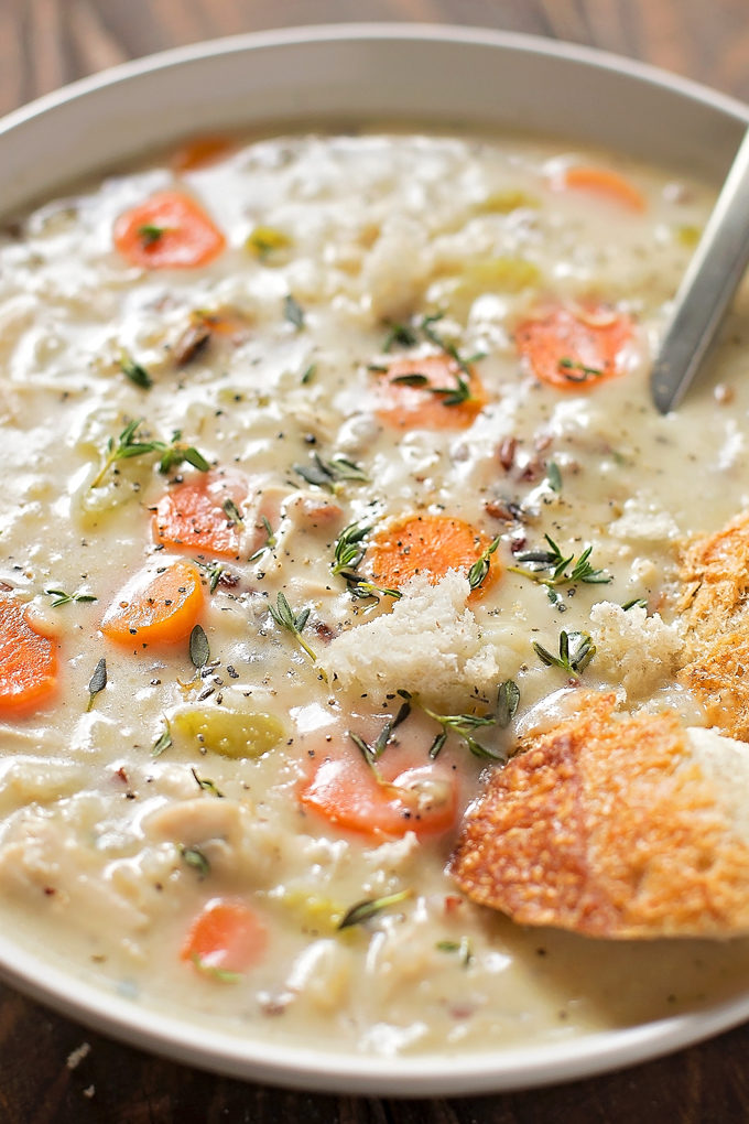 Close up image of chicken wild rice soup recipe