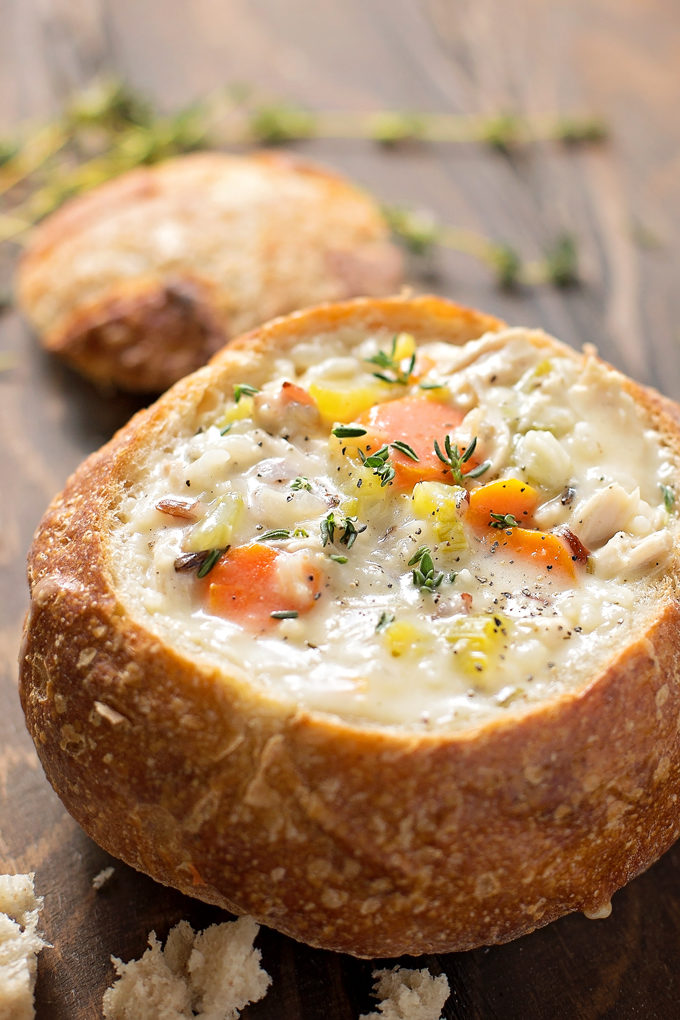Chicken and Wild Rice soup in bread bowl