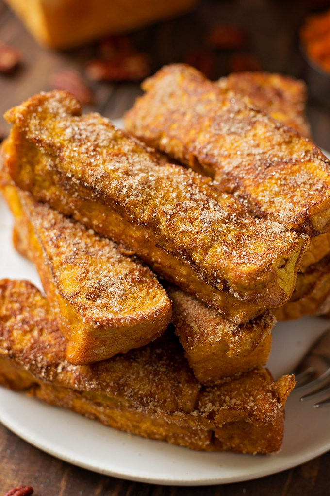 Pumpkin French Toast Sticks | lifemadesimplebakes.com