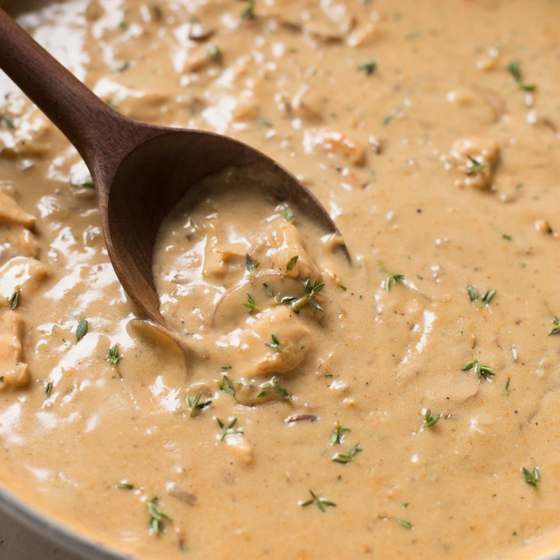 Chicken stroganoff sauce in pan