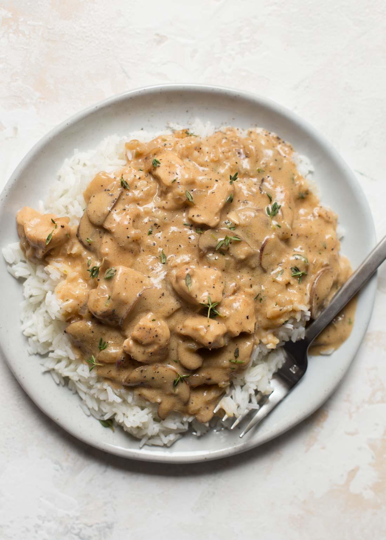Chicken stroganoff recipe on white plate