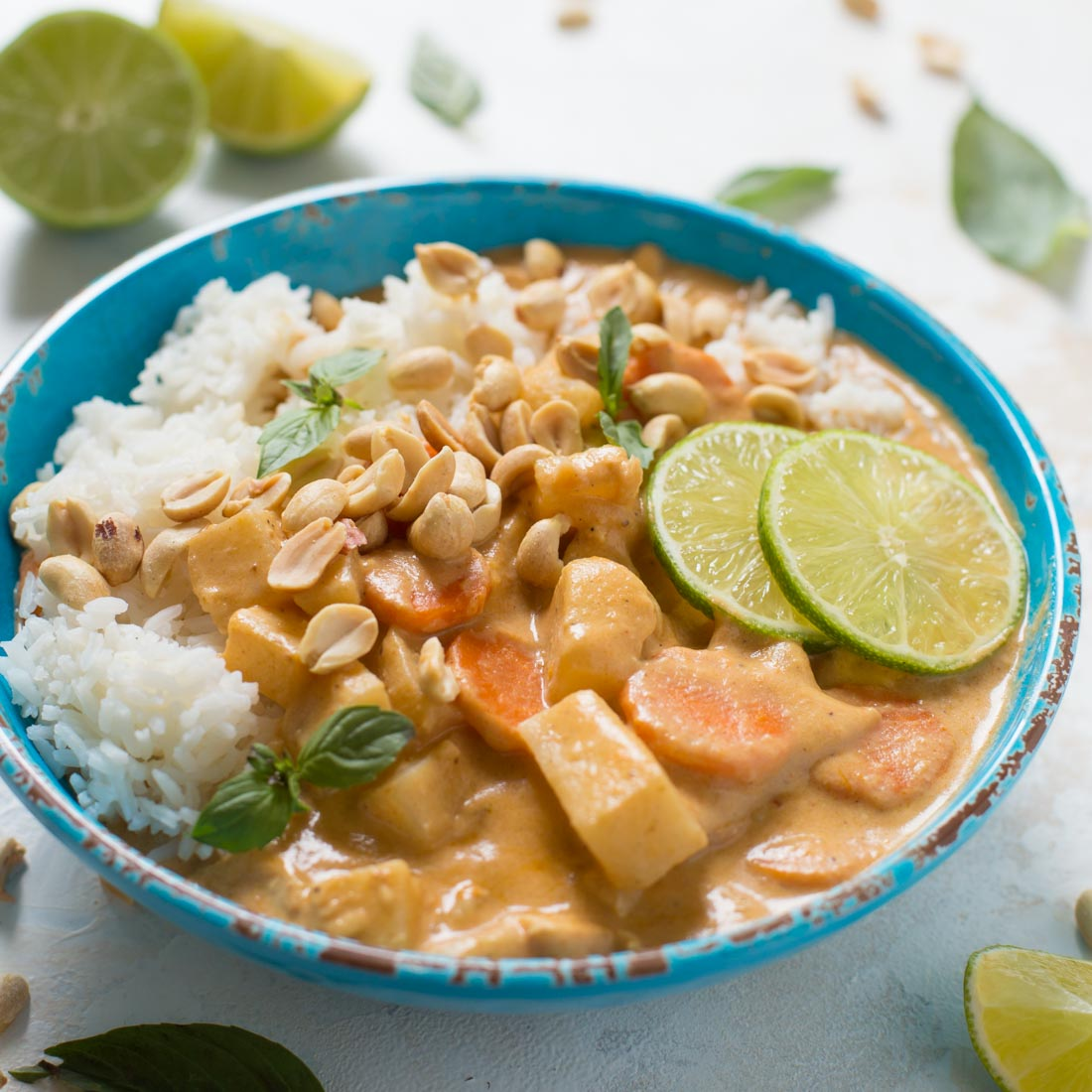 Homemade massaman curry in blue bowl
