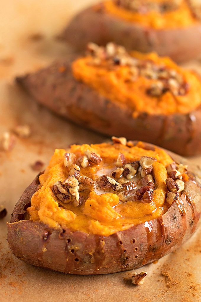 Twice Baked Sweet Potatoes close up